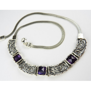 Colier din argint masiv- N3343 ametist