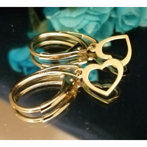 Heart -Cercei argint placati cu aur-INIMIOARE - E3764