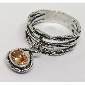 Inel argint champagne quartz R2934