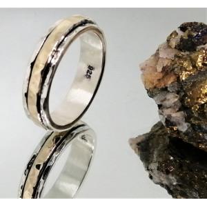 Inel argint si aur 14k -R4695