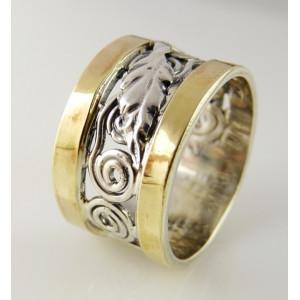 Inel argint si aur galben 14k -100885