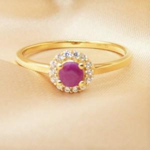Inel delicat TANIA-argint placat si aur - rubin VR011545