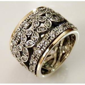 Inel din argint si aur 14k R3044