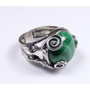 Inel din argint si malachit R7576-1