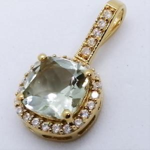 Pandantiv ALEX - argint placat cu aur -VP08175 ametist verde