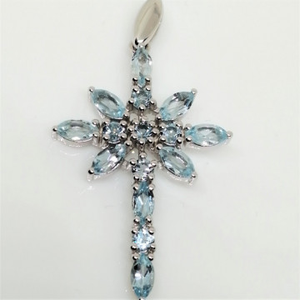 Pandantiv argint cruciulita-VP029013- blue topaz