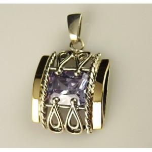 Pandantiv argint si aur 9 k -20001 lavander quartz