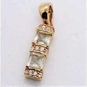 Pandantiv BETTY - argint placat cu aur -VP013536 ametist verde