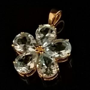 Pandantiv ILINCA-argint placat cu aur galben - VP016008 ametist verde