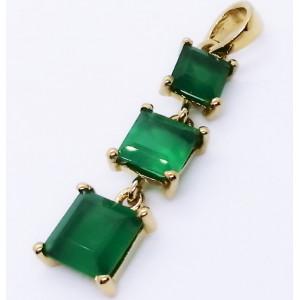Pandantiv MARA-argint placat cu aur onix verde-VP06902