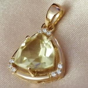 Pandantiv Medeea-argint placat cu aur galben - VP016161 lemon topaz