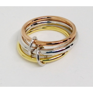 Triplu inel -Stiva 3 inele argint si argint placat cu aur galben si roz - ANPI8801RT