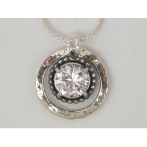 Colier argint cu zircon rotund N2019