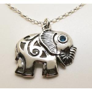 Colier argint elefant - topaz N4226