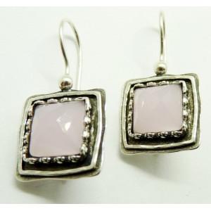 Cercei argint -cuart roz- E3378