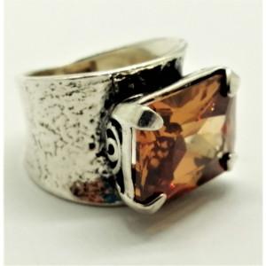 Inel din argint -champagne quartz-R5254