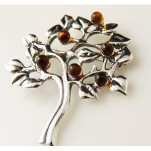 Brosa argint si chihlimbar Copacul Vietii -BRO2777