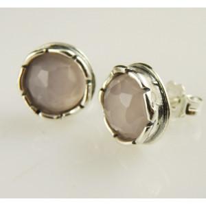 Cercei argint cu surub -cuart roz E175