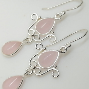 Cercei argint cuart roz- E126