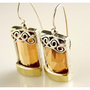 Cercei argint si aur 14k - champagne quartz 200565