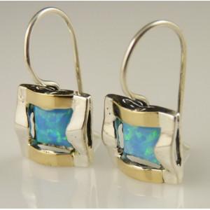 Cercei argint si aur 9 k-30590 opal