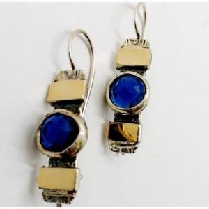 Cercei argint si aur 9 k -30920 Blue quartz