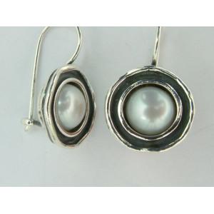 Cercei argint si perla de cultura E739