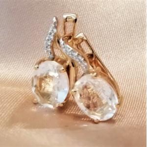 Cercei BIANCA-argint placat cu aur si zircon VE06887