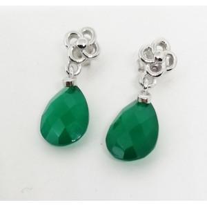 Cercei delicati din argint -VE015987 onix verde