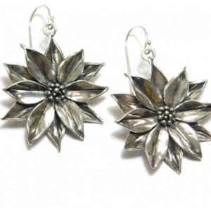 Cercei din argint-floare de lotus -E10857