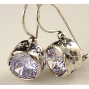 Cercei din argint gravati - lavander quartz E3357