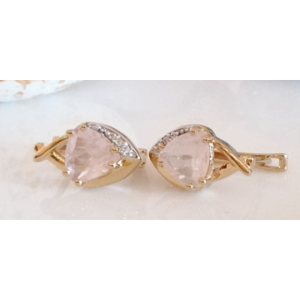 Cercei Nona-argint placat cu aur galben -VE030372 cuart roz