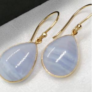 Cercei Ronda -argint placat cu aur VE017554 -blue agat
