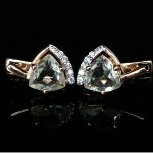 Cercei Tara -argint placat cu aur galben- VE032905-ametist verde