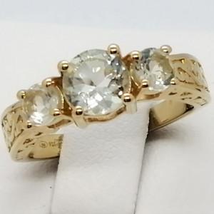 Inel ALINA- argint placat cu aur si ametist verde -VR031149
