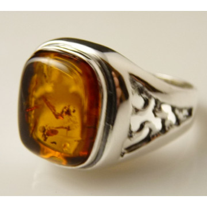 Inel argint chihlimbar cognac -R3320