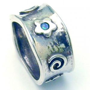 Inel argint flori si spirale R1745 -opal