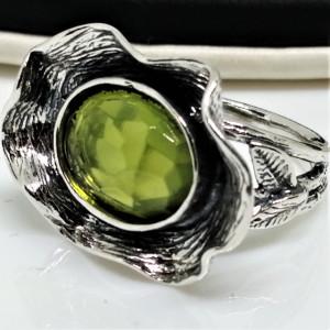 Inel argint peridot R7972