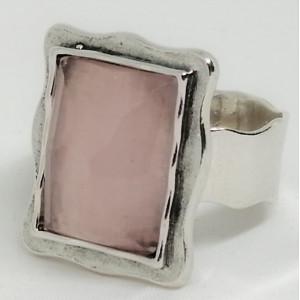 Inel argint -R2954- cuart roz