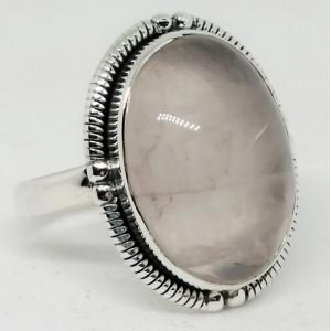 Inel argint - R35- cuart roz