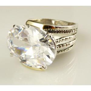Inel argint si aur 14k -102856 zircon