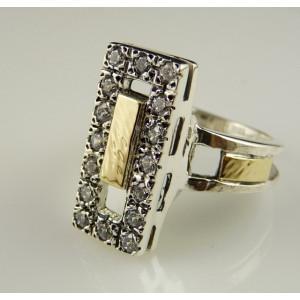 Inel argint si aur 14k -R1536SN