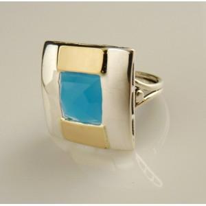 Inel argint si aur 9 k -10152 blue ocean quartz