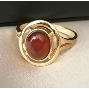 Inel din argint placat cu aur galben si chihlimbar cognac- R2088 A