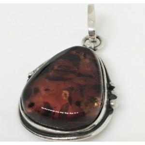 Pandantiv argint chihlimbar cognac P812-10