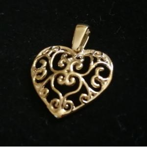 Pandantiv -argint placat cu aur galben-CNST0380 - Inimioara