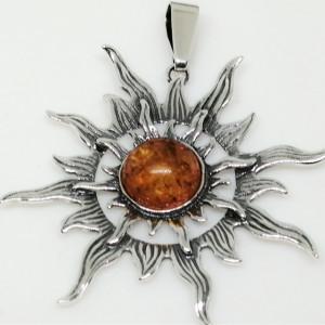 Pandantiv mare din argint si chihlimbar -Soare-P395-1