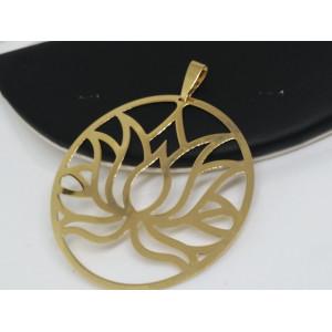 Pandantiv mare - FLOARE LOTUS -argint placat cu aur galben -P3604-diametru 6,3 cm