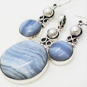 Set cercei si pandantiv argint-- SET 9 blue agat