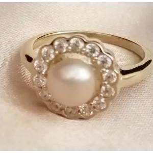 Vannes- Inel argint placat cu aur galben VR014557-perla peach